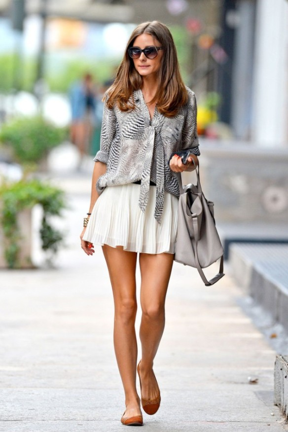 olivia palermo white pleated skirt