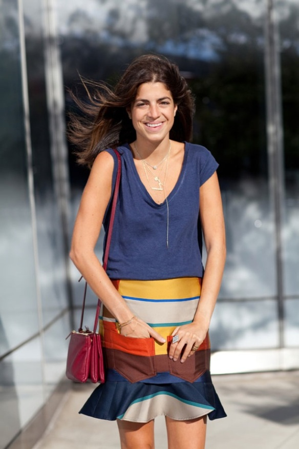 R-LEANDRA-MEDINE-FASHION-WEEK-SS-SPRING-SUMMER-2013-STRIPE-COLOR-BLOCK-FLARE-HEM-SKIRT-BASIC-TEE-TSHIRT-LAYERED-NECKLACES-CELINE-BURGUNDY-RED-CROSS-BODY-BAG