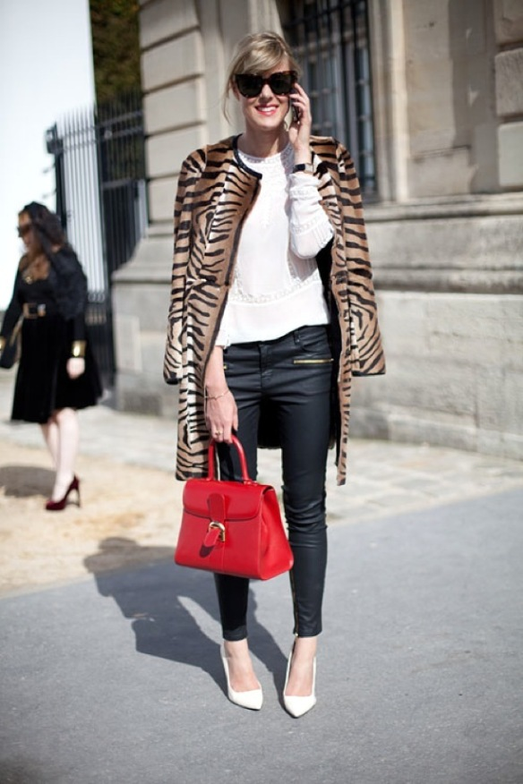 pfw-paris-fashion-week-street-style-ss-spring-summer-2013-animal-print-coats-zebra-leather-skinny-pants-ankle-zippers-red-ladylike-bag-oversized-sunglasses-white-embroidered-top-white-pu