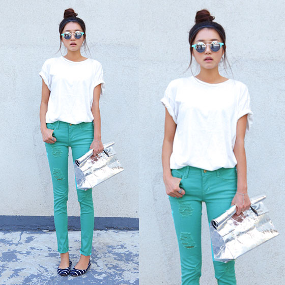 calca-verde-agua-mint-camiseta-branca-look